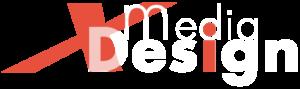 Logotipo XmediaDesign cor laranja e branco